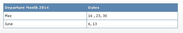 Kashmir Fixed Departure Date 2014