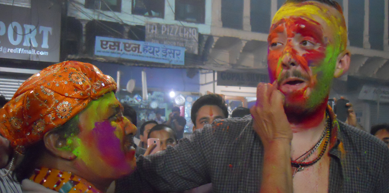 An Australian tourist celebrating Holi @ Varah Ghat, Pushkar