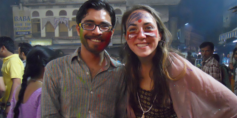 Me with Abigail on the eve of Holi @ Varah Ghat, Pushkar