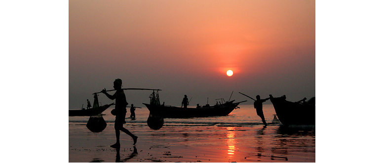 Sunset at Mandarmoni Beach, West Bengal