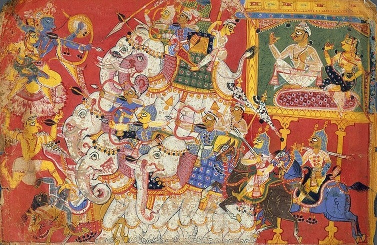 Defeat of Narakasura by Lord Krishna
