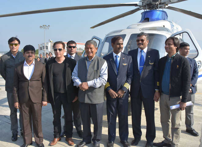 Chief Minister Harish Rawat at the inauguration of air service to Pithoragarh from the Jolly Grant Airport in Dehradun