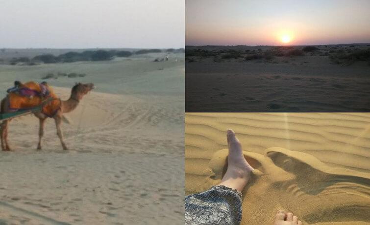 Sand Dunes, camel cart and sunse