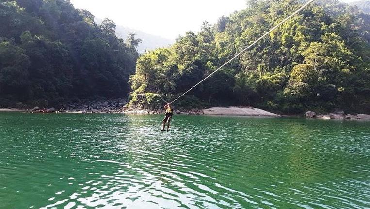 Zip-lining in Dawki, Meghalaya