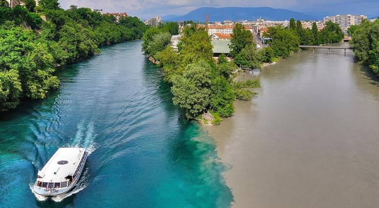 The-Confluence-of-Rhone-and-Arve-River,-Switzerland