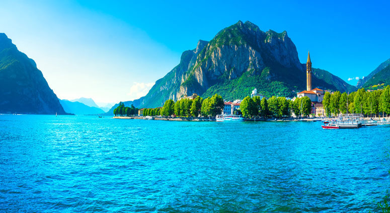 Lecco town in Como lake district. Italian traditional lake village. Italy, Europe
