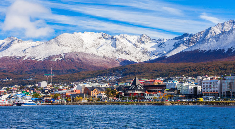 Ushuaia aerial view. Ushuaia is the capital of Tierra del Fuego province in Argentina