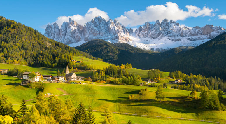 Wonderful landscape from Santa Magdalena Village in Dolomites area Italy
