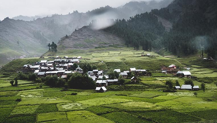 A village in Gurez Valley with a picturesque landscape