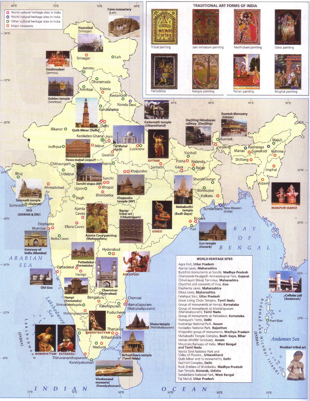 India heritage map world heritage sites map india taj mahal gumiabroncs Choice Image