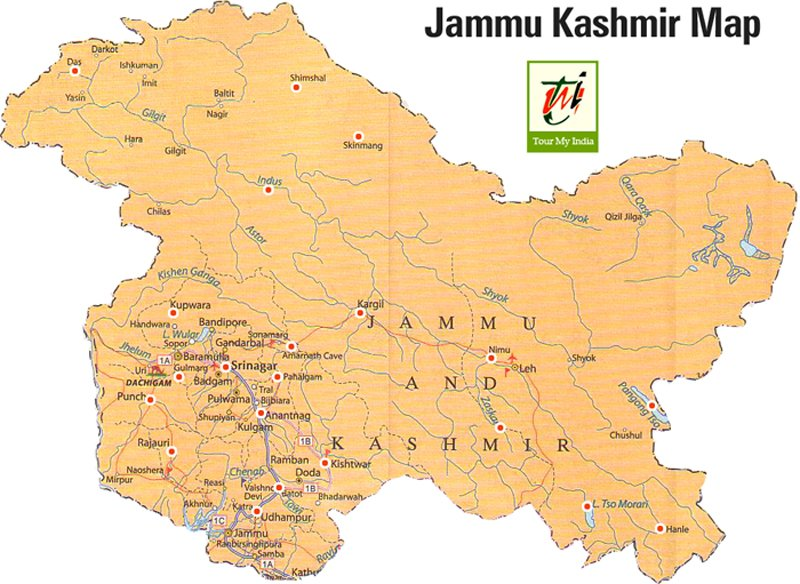 Jammu & Kashmir Map Tourist Map of Jammu and Kashmir to Travel in J&K Jammu & Kashmir Map
